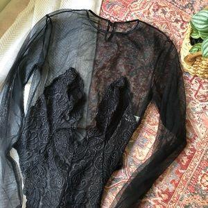 vs gold label | vintage mesh lace bodysuit black L